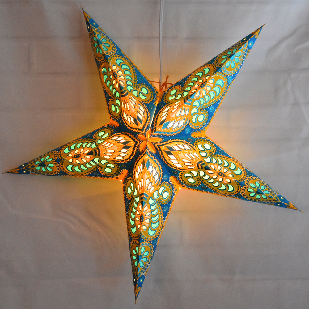 "24"" Turquoise / Yellow Peacock Glitter Paper Star Lantern, Hanging Decoration"