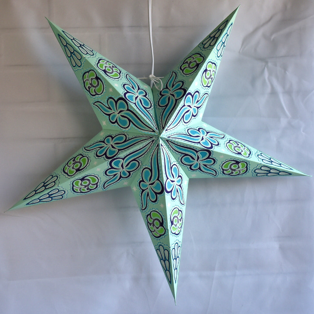 "24"" Pale Green Sky Blue Cloud Glitter Paper Star Lantern, Hanging - PaperLanternStore.com - Paper Lanterns, Decor, Party Lights & More"