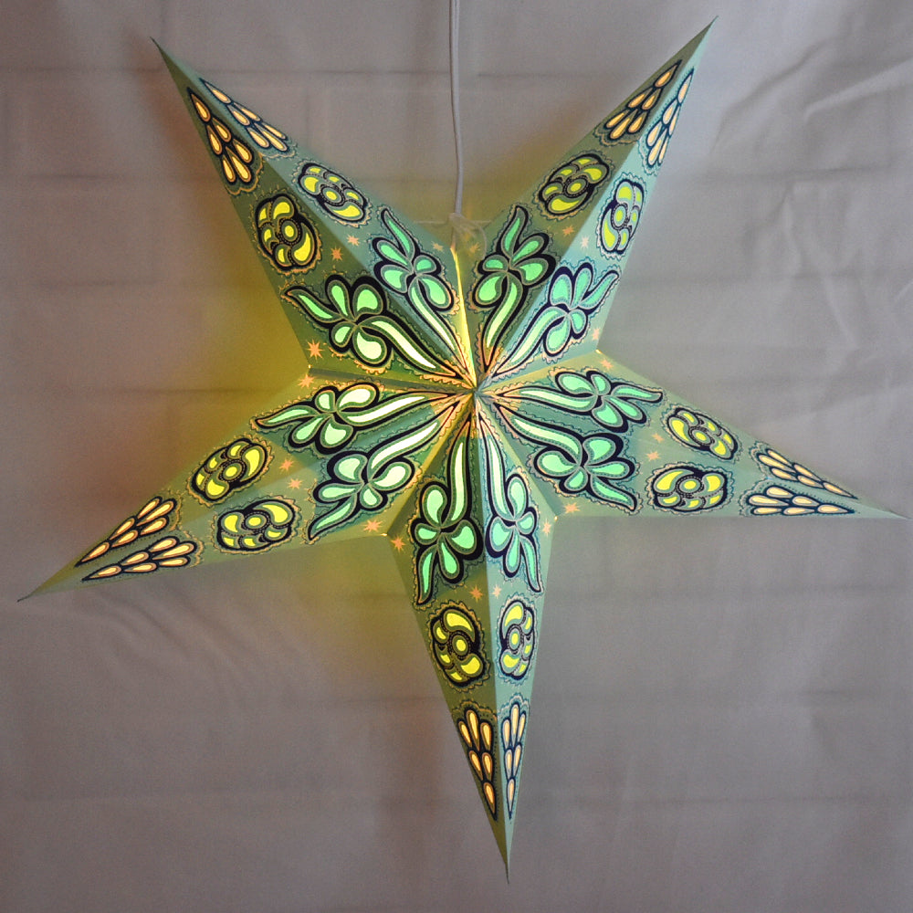 "24"" Pale Green Sky Blue Cloud Glitter Paper Star Lantern, Hanging"