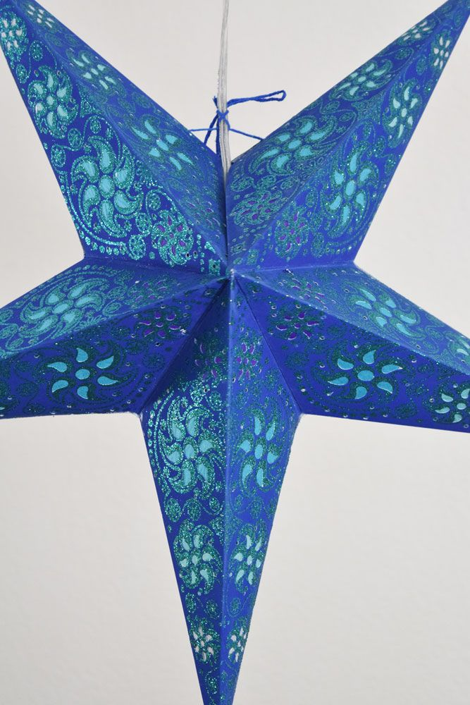 "24"" Dark Blue / Green Winds Glitter Paper Star Lantern, Hanging"