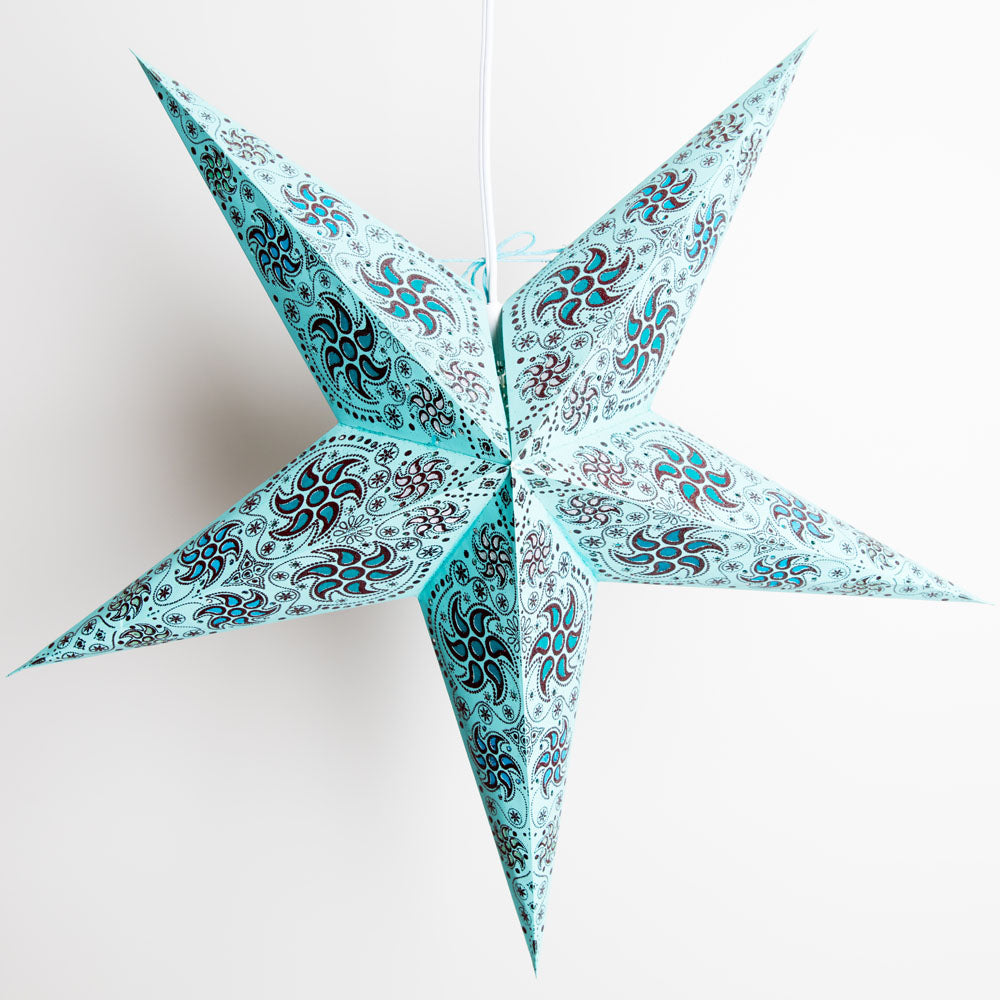 "24"" Turquoise Blue Winds Red Glitter Paper Star Lantern, Hanging"