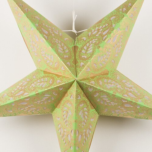 "3-PACK + Cord | Light Green Lace Paisley 24"" Illuminated Paper Star Lanterns and Lamp Cord Hanging Decorations"