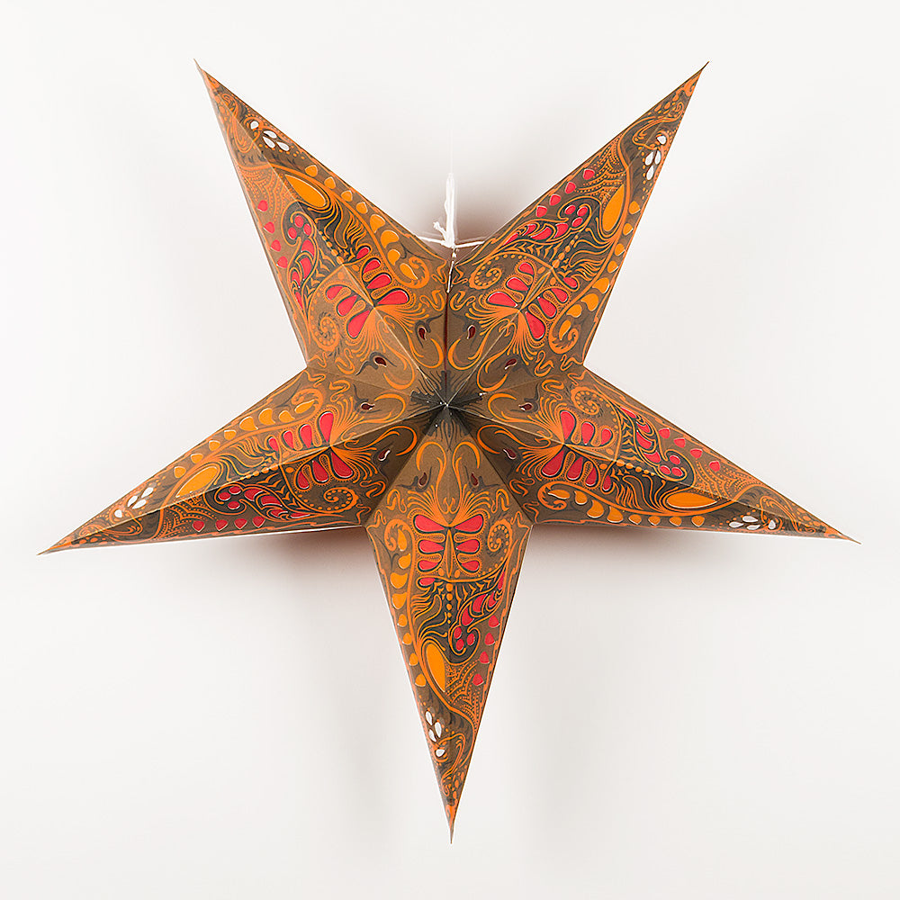 "BLOWOUT 24"" Brown Swan Orange Paper Star Lantern, Hanging"