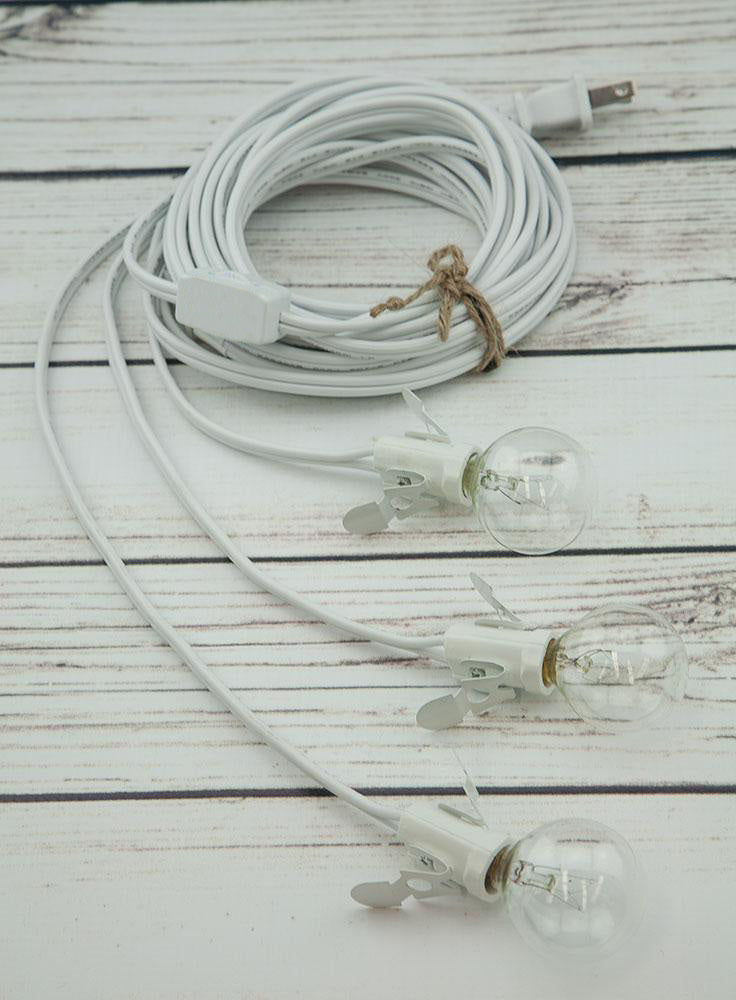 Star Lantern Triple Socket White Pendant Light Lamp Cord, 17 Ft - Electrical Swag Light Kit
