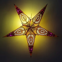"3-PACK + Cord | Yellow Window 24"" Illuminated Paper Star Lanterns and Lamp Cord Hanging Decorations"