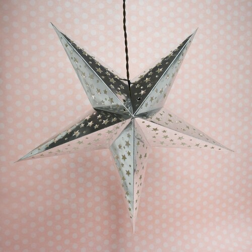 "3-PACK + Cord | Silver Starry Night 26"" Illuminated Paper Star Lanterns and Lamp Cord Hanging Decorations"