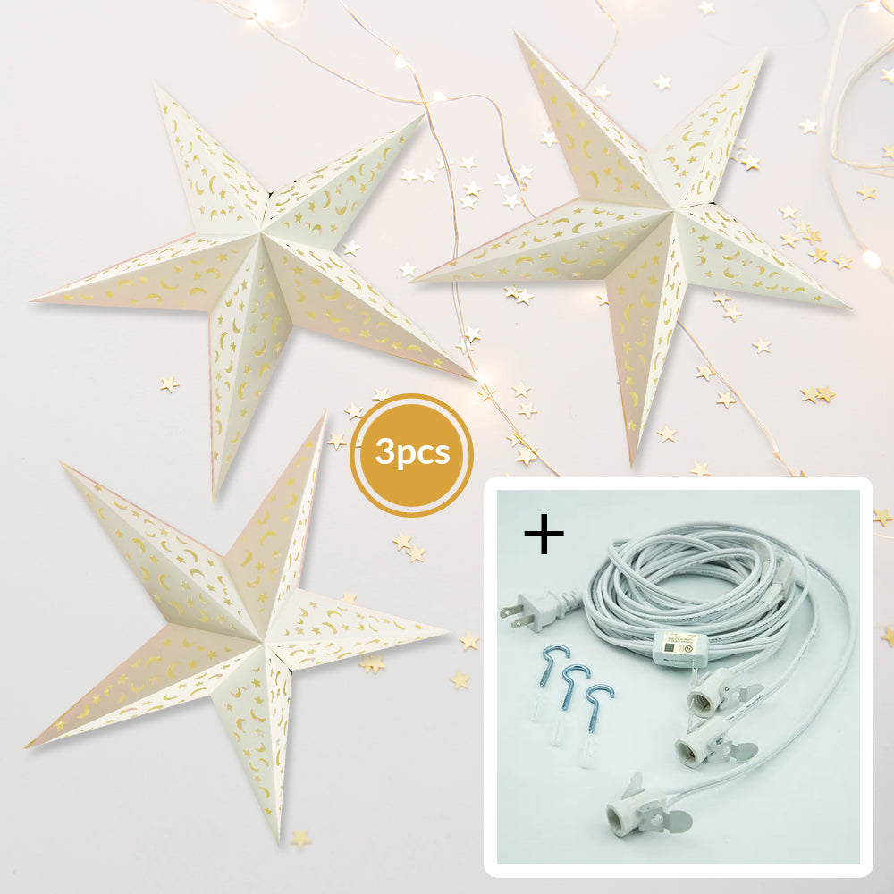 "3-PACK + Cord | White Moon and Stars 24"" Illuminated Paper Star Lanterns and Lamp Cord Hanging Decorations"