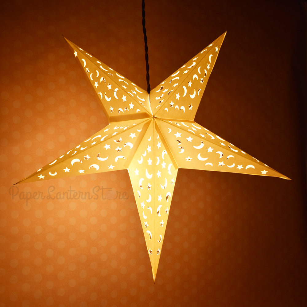"24"" White Star Moon Cut-Out Paper Star Lantern, Hanging Wedding & Party Decoration - PaperLanternStore.com - Paper Lanterns, Decor, Party Lights & More"