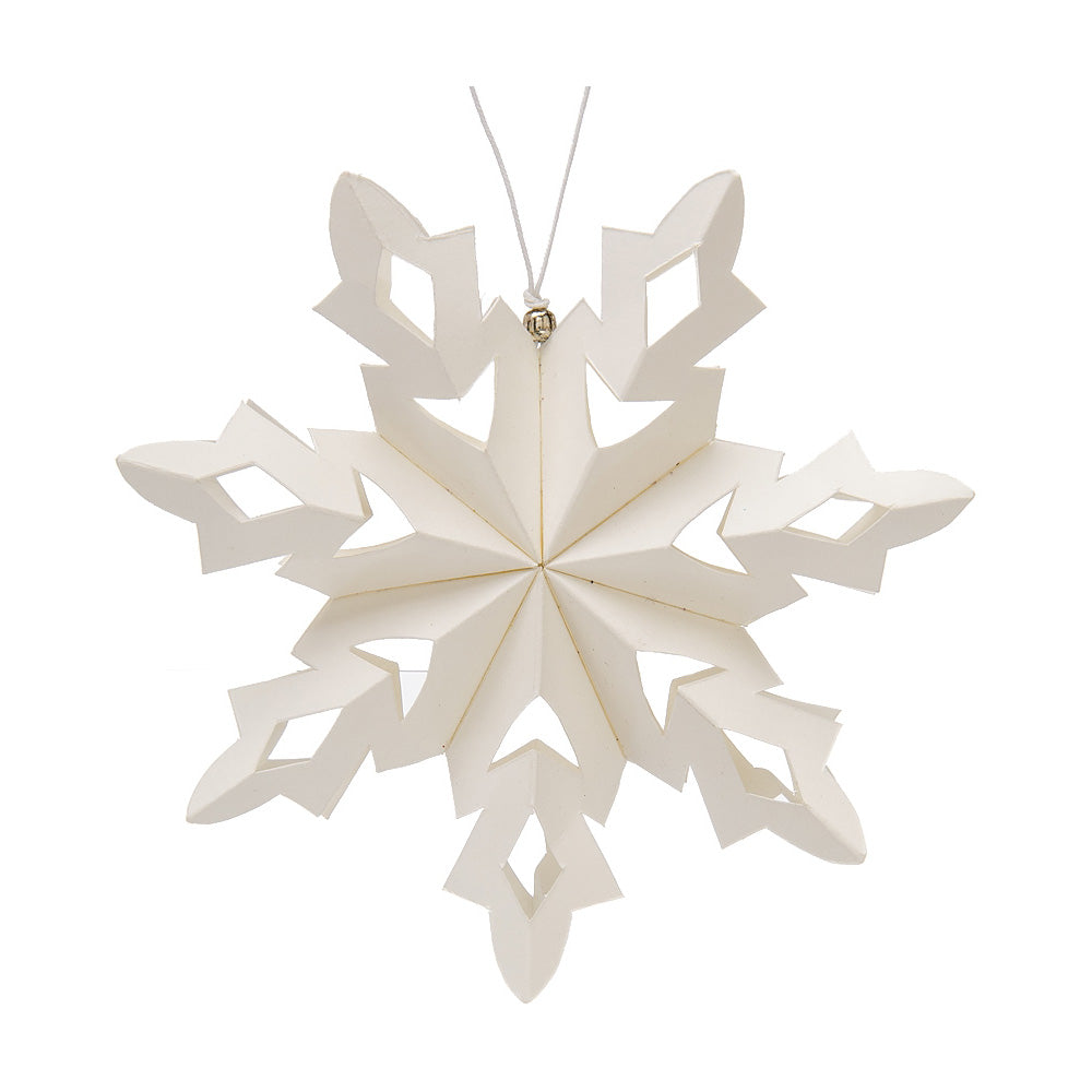 "4.75"" White Stellare Design Pizzelle Snowflake Origami Ornament Christmas Decoration"