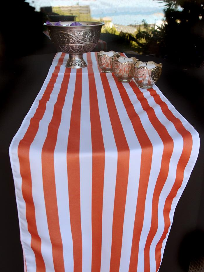 BLOWOUT Striped Pattern Table Runner - Orange (12 x 108) - PaperLanternStore.com - Paper Lanterns, Decor, Party Lights & More