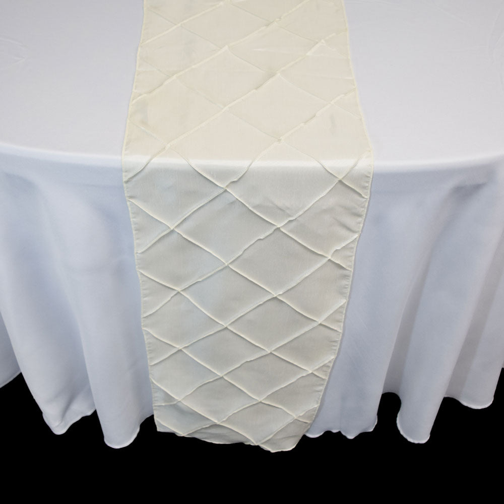 Beige / Ivory Pintuck Chameleon Table Runner - 12 x 108 Inch - PaperLanternStore.com - Paper Lanterns, Decor, Party Lights & More