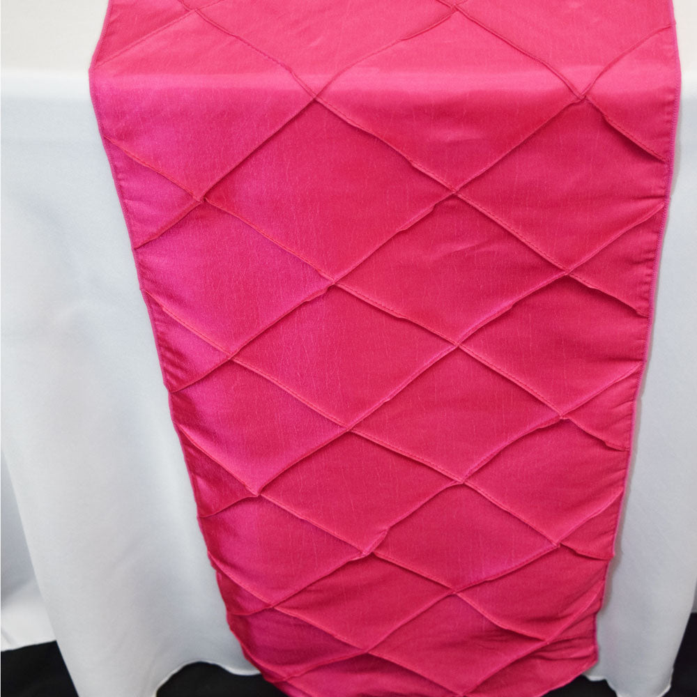 BLOWOUT Fuchsia / Hot Pink Pintuck Chameleon Table Runner - 12 x 108 Inch