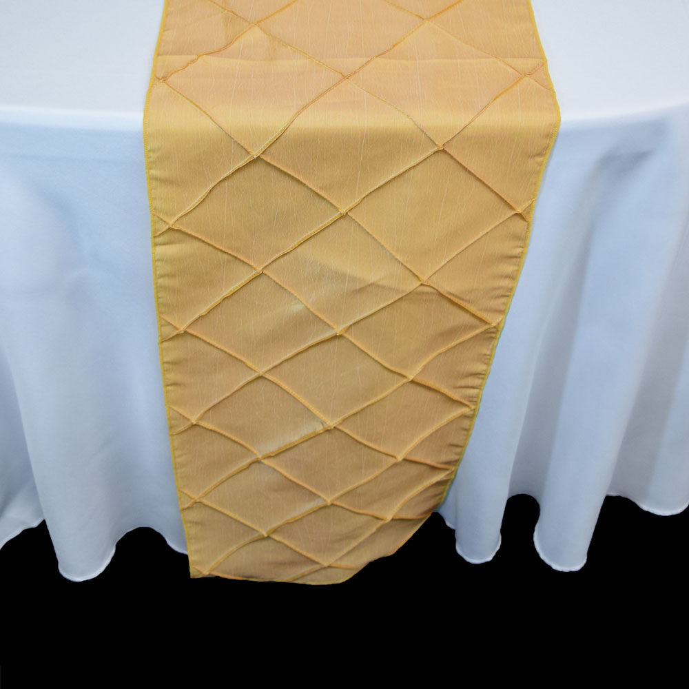 BLOWOUT Gold Pintuck Chameleon Table Runner - 12 x 108 Inch