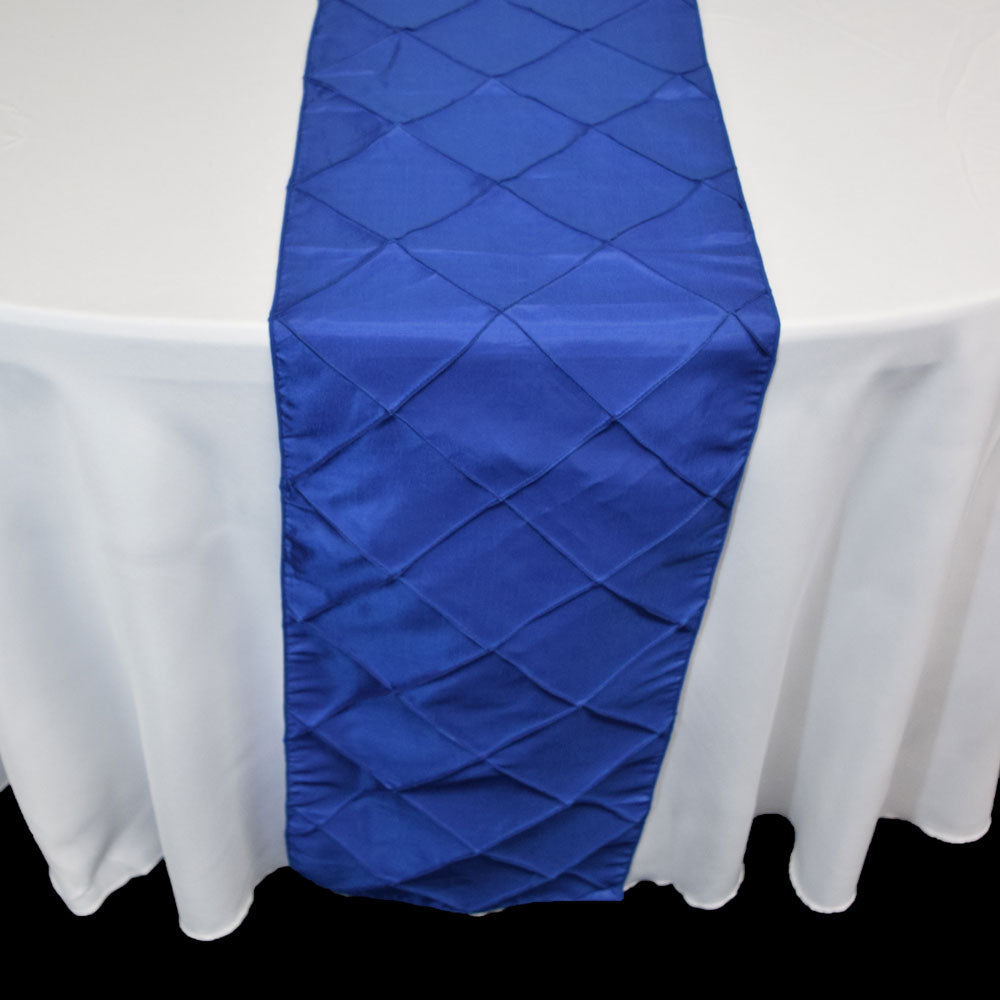 BLOWOUT Royal Blue Pintuck Chameleon Table Runner - 12 x 108 Inch