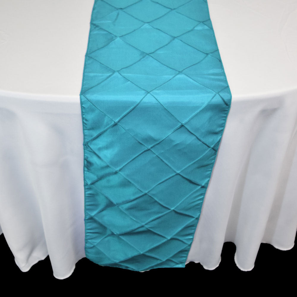 BLOWOUT Turquoise Pintuck Chameleon Table Runner - 12 x 108 Inch