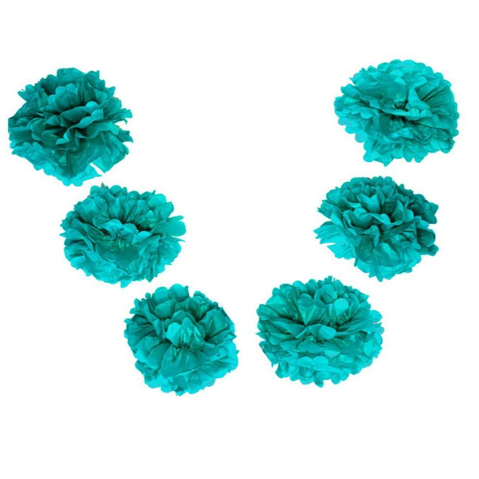 "BLOWOUT EZ-Fluff 6"" Teal Green Hanging Tissue Paper Flower Pom Pom, Party Garland Decoration - PaperLanternStore.com - Paper Lanterns, Decor, Party Lights & More"