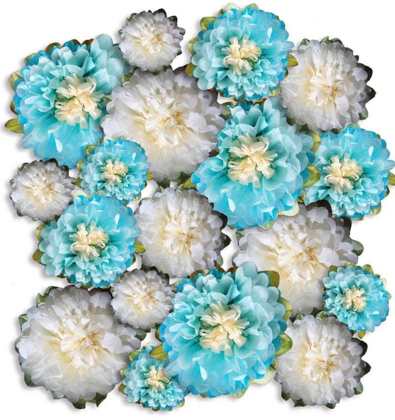 18-Pack Turquoise / Beige Multi-Color Tissue Paper Flower Decorations, EZ-Fluff