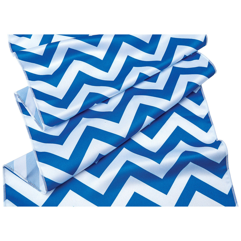 Cobalt Blue and White Chevron Striped Table Runner- (14 Inches x 9 Feet)