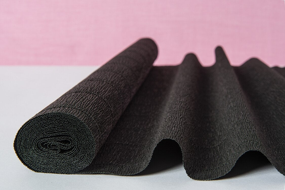 Black Tie Premium Heavy Italian Crepe Paper Roll and Table Runner, 20 Inches x 8 Feet