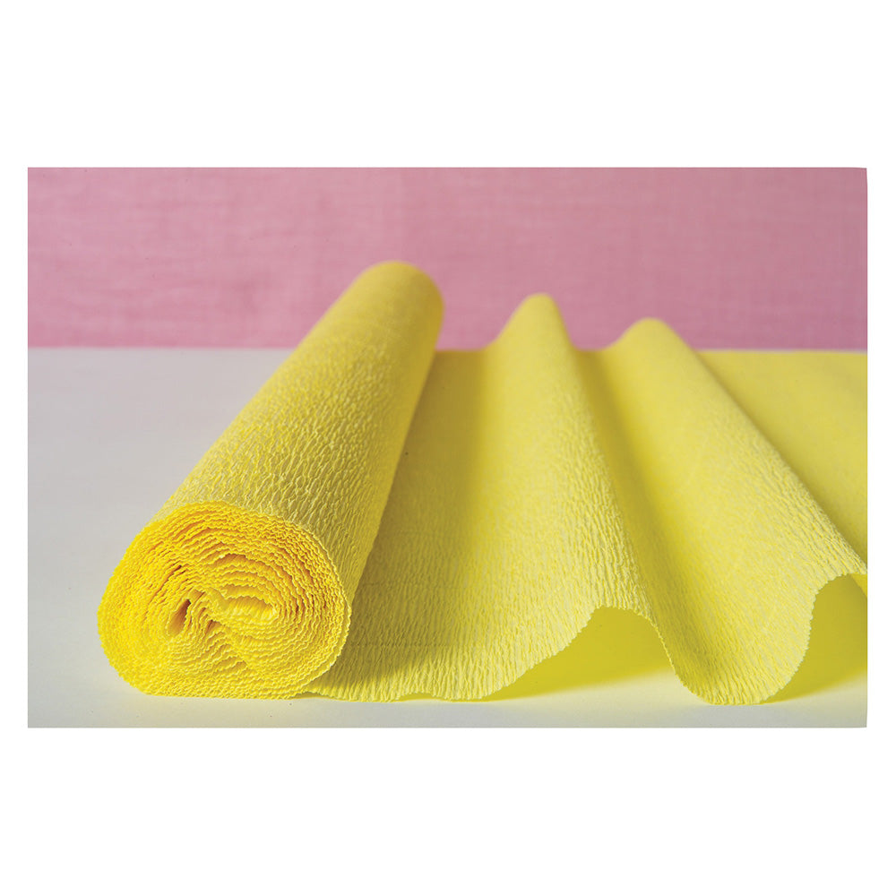 Lemonade Yellow Premium Heavy Italian Crepe Paper Roll and Table Runner, 20 Inches x 8 Feet
