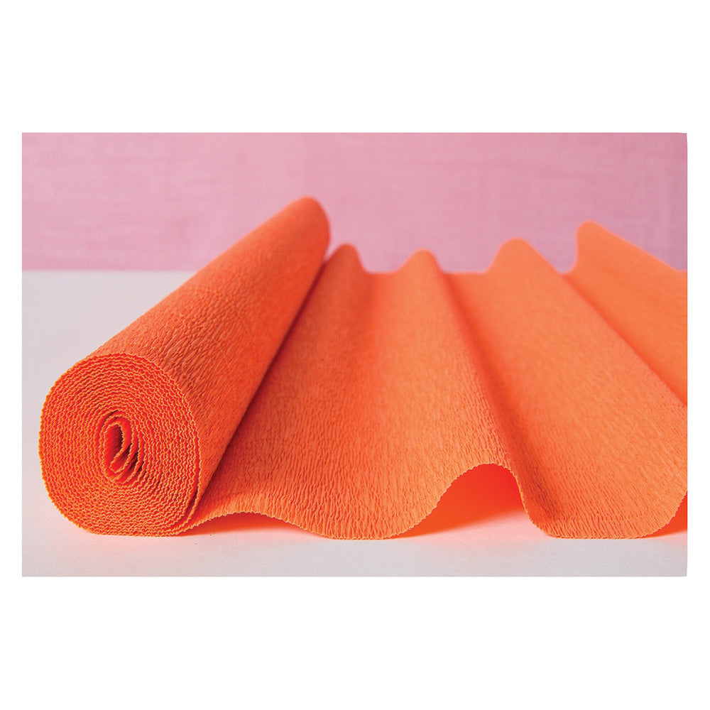 Mango Orange Premium Heavy Italian Crepe Paper Roll and Table Runner, 20 Inches x 8 Feet