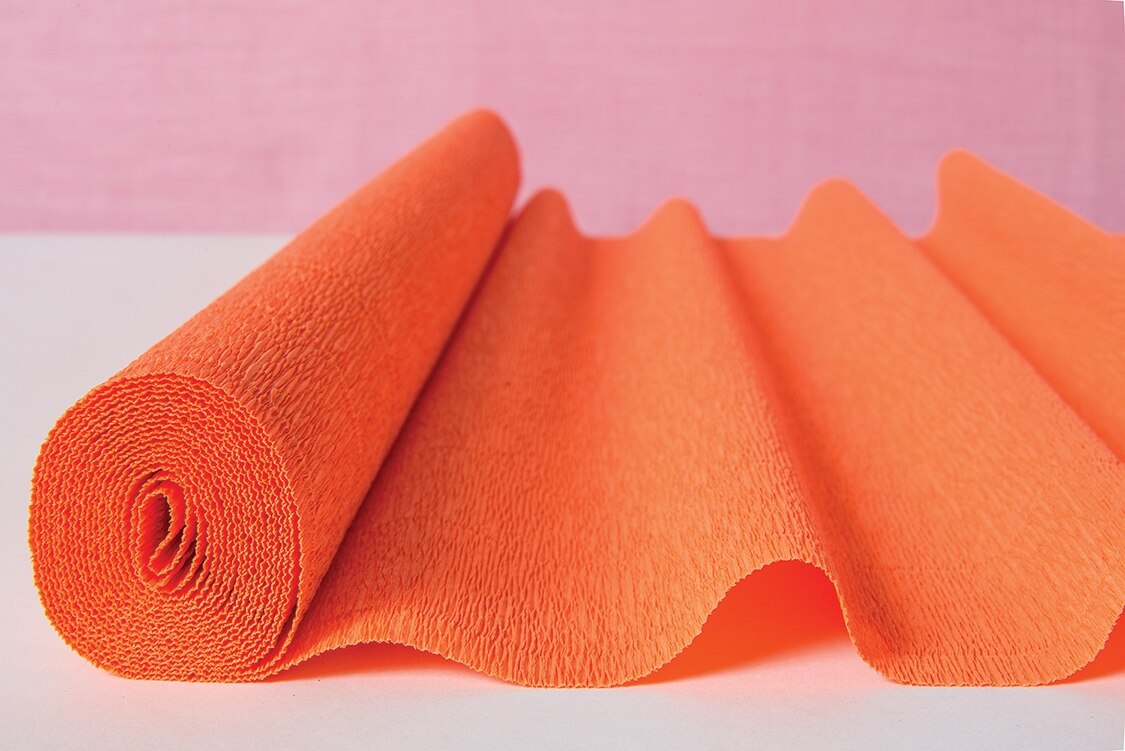 Mango Orange Premium Heavy Italian Crepe Paper Roll and Table Runner, 20 Inches x 8 Feet - PaperLanternStore.com - Paper Lanterns, Decor, Party Lights & More
