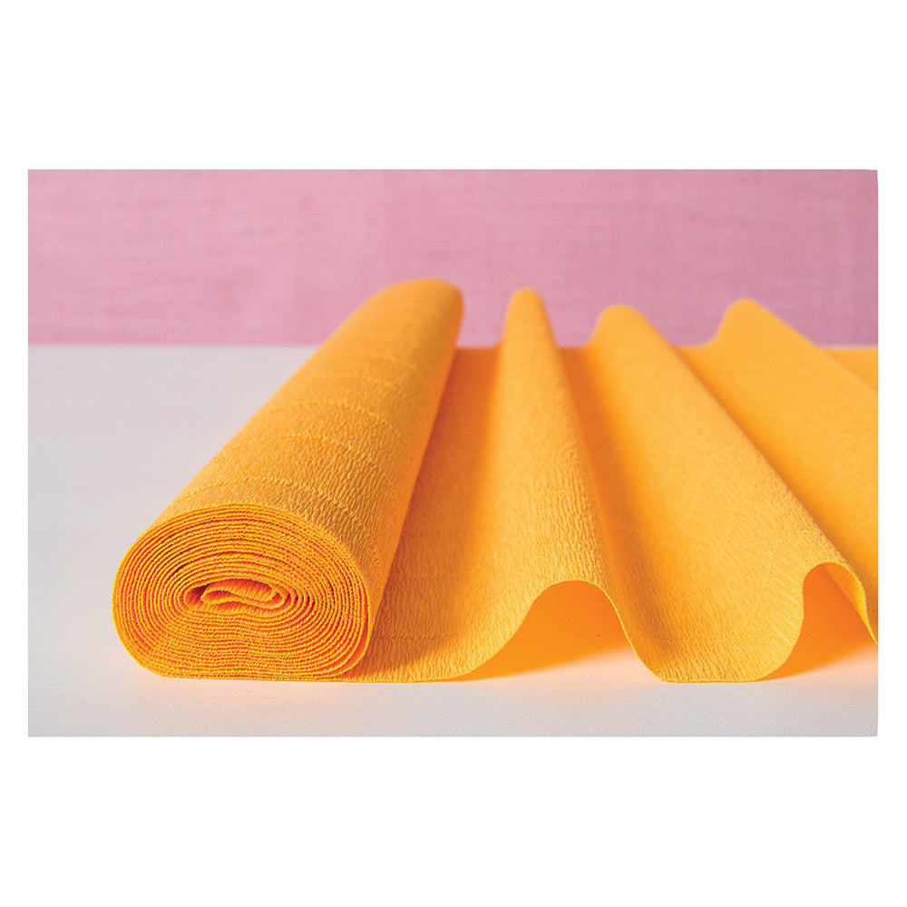 Marigold Yellow Premium Heavy Italian Crepe Paper Roll and Table Runner, 20 Inches x 8 Feet