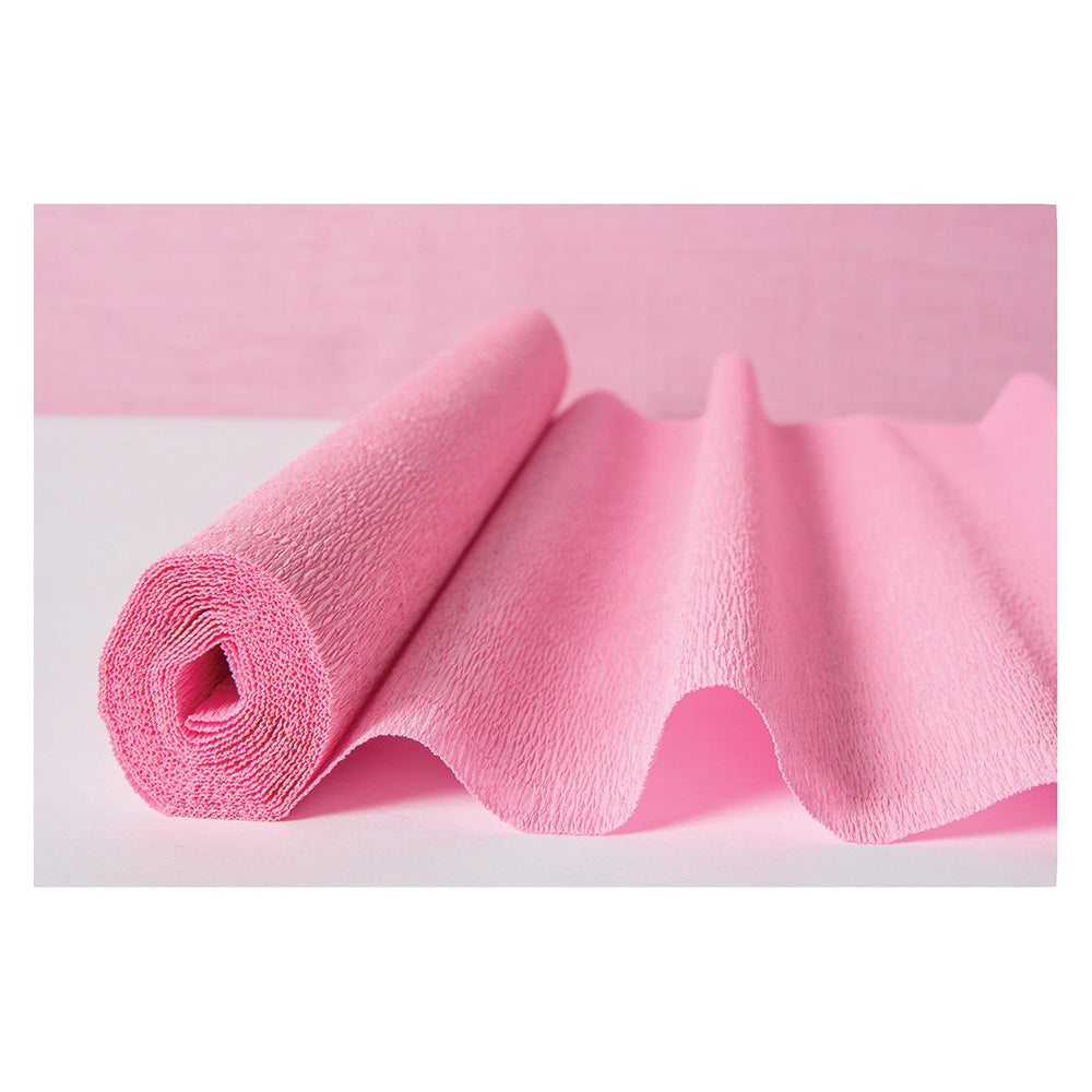 BLOWOUT Bambina Pink Premium Heavy Italian Crepe Paper Roll and Table Runner, 20 Inches x 8 Feet