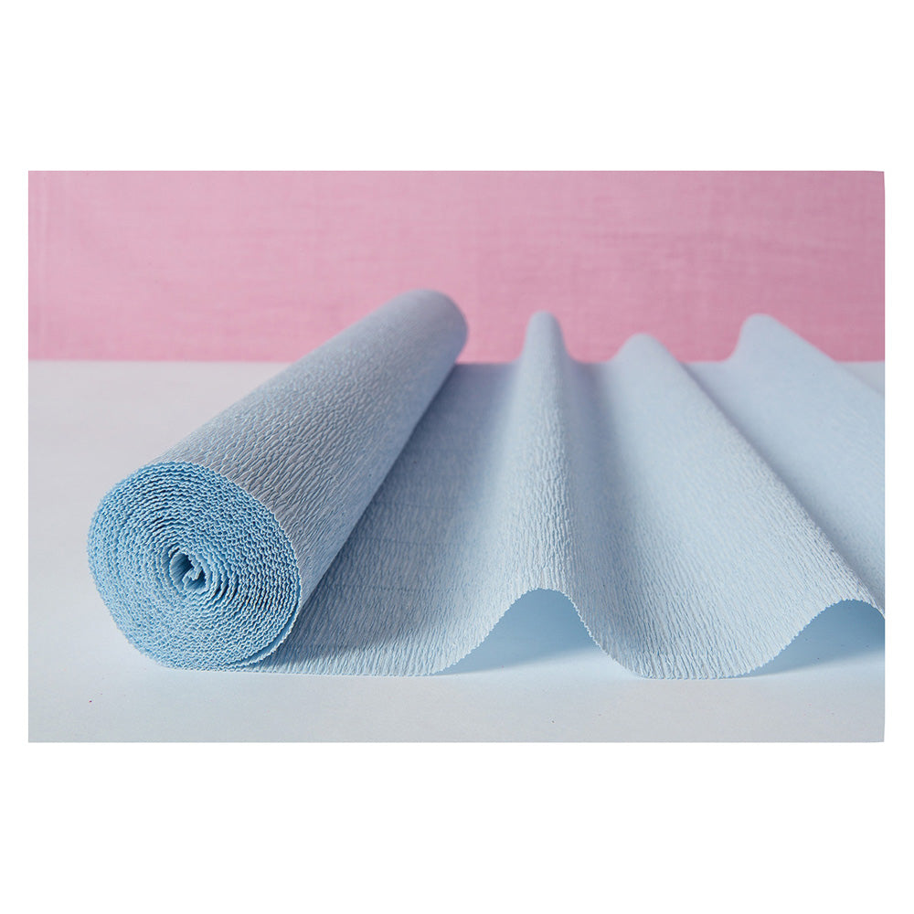 Wedgwood Blue Premium Heavy Italian Crepe Paper Roll and Table Runner, 20 Inches x 8 Feet