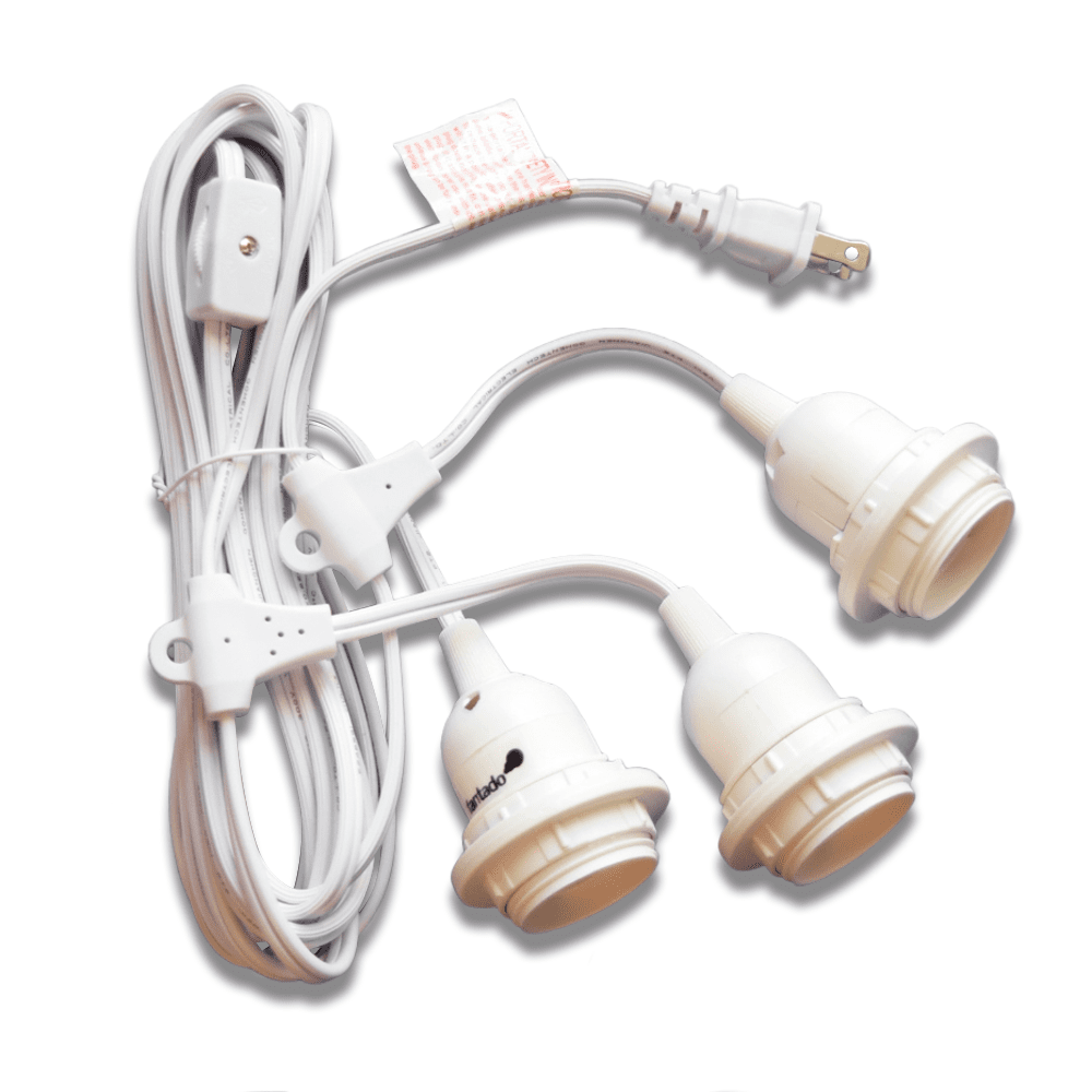Triple Socket White Pendant Light Lamp Cord for Lanterns, 19 FT