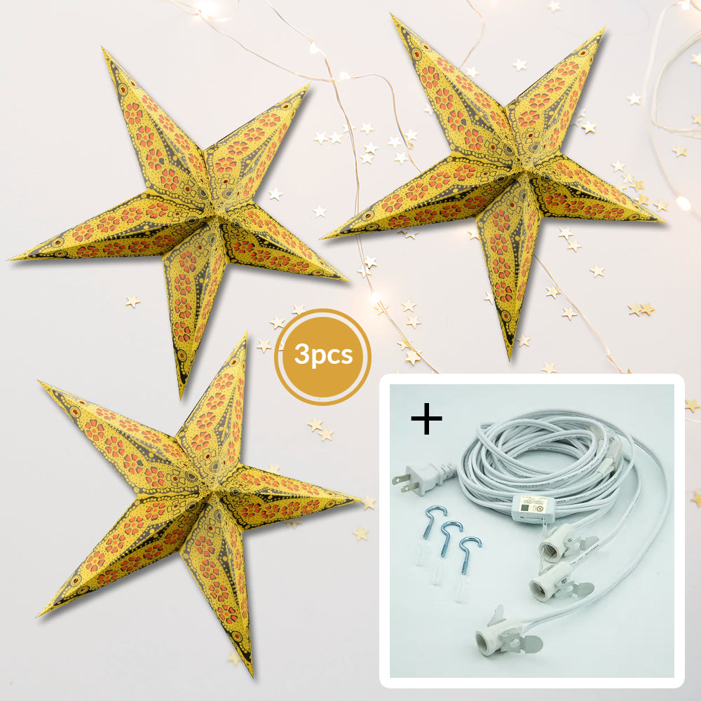 "3-PACK + Cord | Yellow Petal Cut 24"" Illuminated Paper Star Lanterns and Lamp Cord Hanging Decorations"