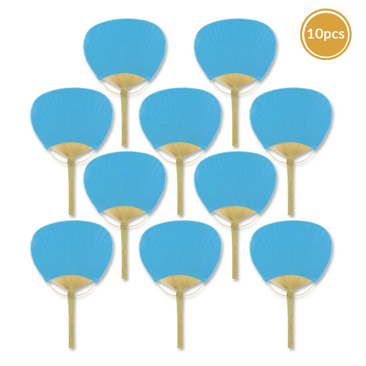 "9"" Turquoise Paddle Paper Hand Fans for Weddings (10 Pack)"