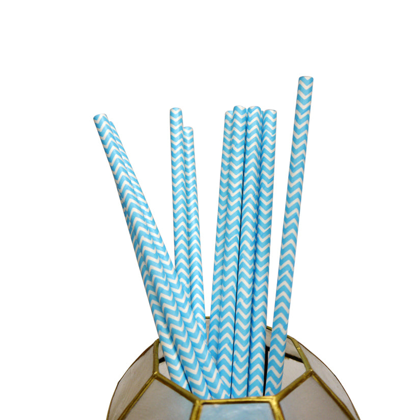 Turquoise Chevron Patterned Party Paper Straws (12 PACK) - PaperLanternStore.com - Paper Lanterns, Decor, Party Lights & More