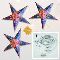 "3-PACK + Cord | Lilac Purple Lotus Glitter 24"" Illuminated Paper Star Lanterns and Lamp Cord Hanging Decorations"