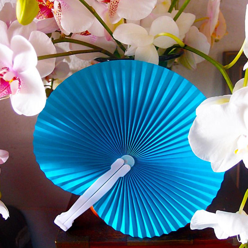"9"" Turquoise Accordion Paper Hand Fan for Weddings (10 Pack)"