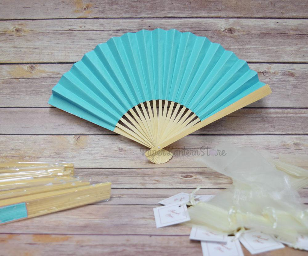 "9"" Turquoise Premium Paper Hand Fans w/ Organza Bag (Combo 10 PACK) - PaperLanternStore.com - Paper Lanterns, Decor, Party Lights & More"