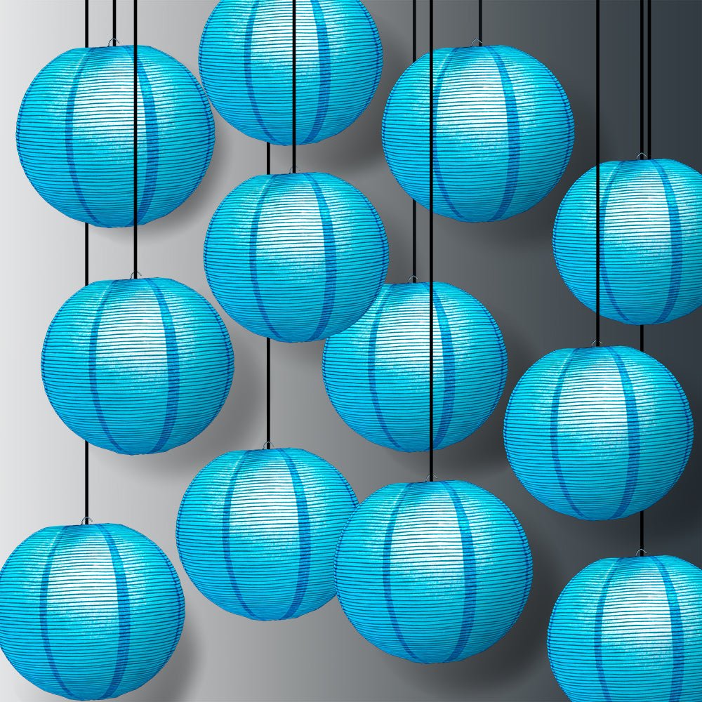 "12 PACK | 12"" Turquoise Blue Fine Line Premium Even Ribbing Paper Lantern, Extra Sturdy - PaperLanternStore.com - Paper Lanterns, Decor, Party Lights & More"