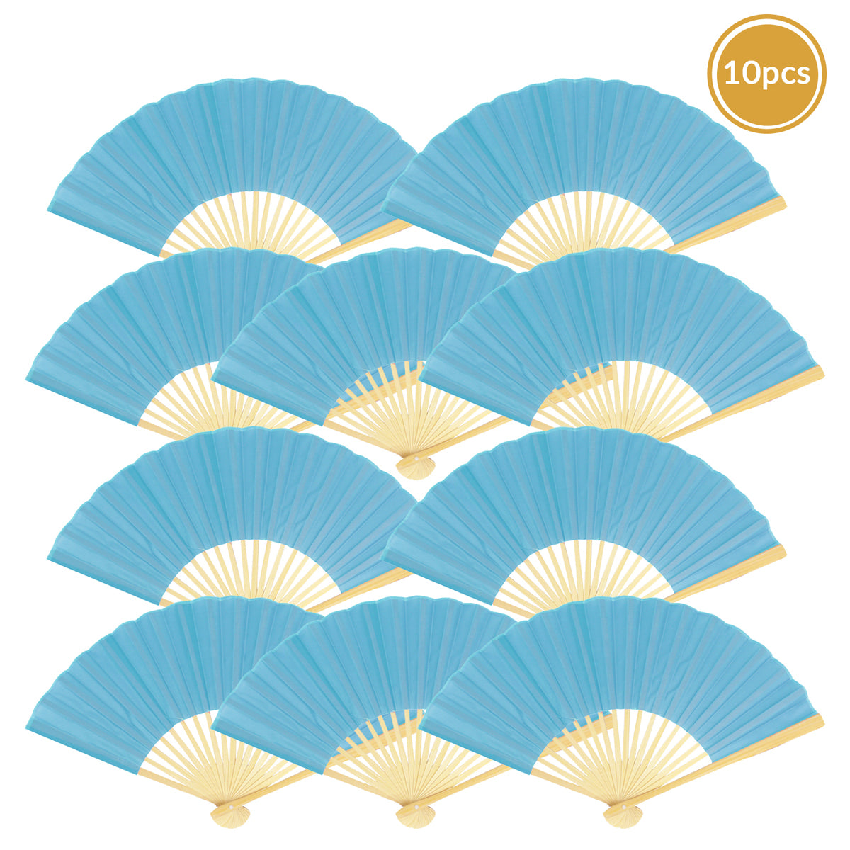 "9"" Turquoise Silk Hand Fans for Weddings (10 Pack)"