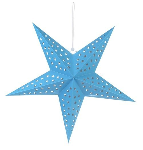 "3-PACK + Cord | Turquoise Blue Starry Night 24"" Illuminated Paper Star Lanterns and Lamp Cord Hanging Decorations"