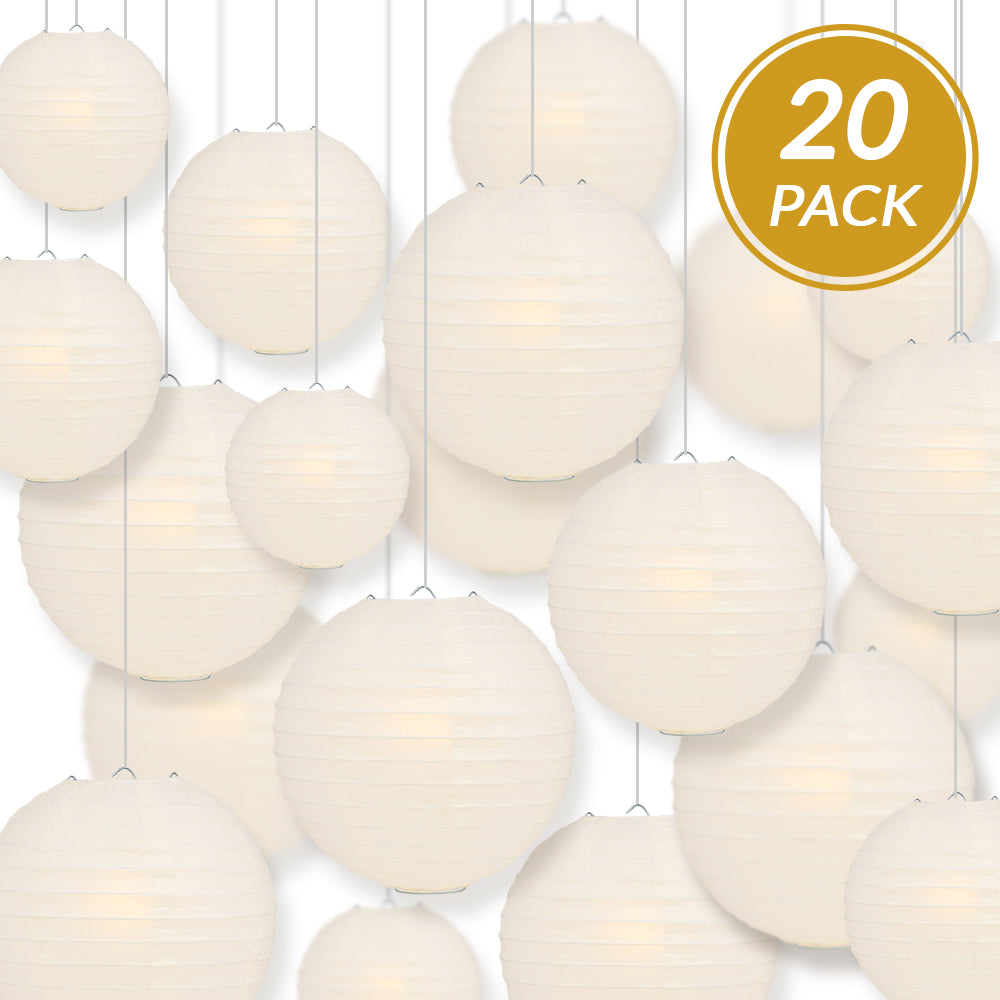 Ultimate 20pc Beige Paper Lantern Party Pack - Assorted Sizes of 6, 8, 10, 12 for Weddings, Birthday, Events and Decor - PaperLanternStore.com - Paper Lanterns, Decor, Party Lights & More