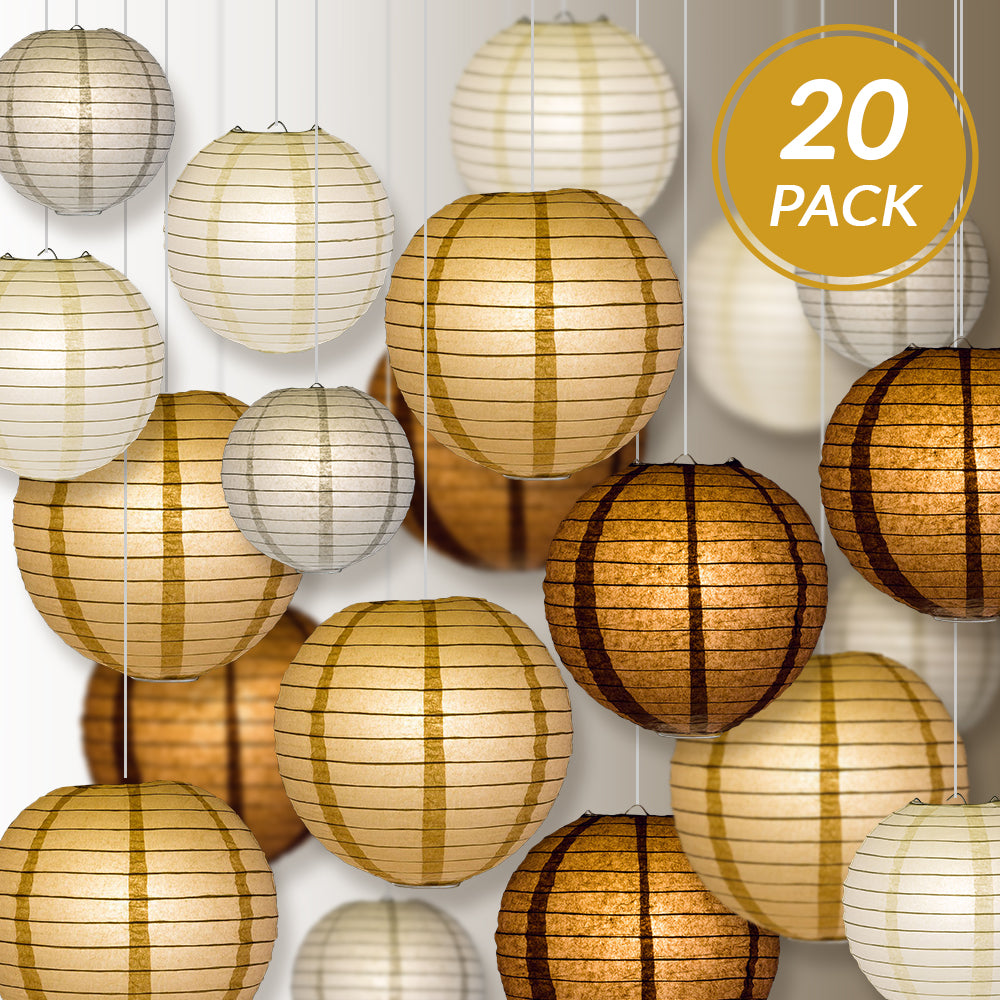 "Ultimate 20-Piece Earthtone Variety Paper Lantern Party Pack - Assorted Sizes of 6"", 8"", 10"", 12"" (5 Round Lanterns Each) for Weddings and Decor - PaperLanternStore.com - Paper Lanterns, Decor, Party Lights & More"