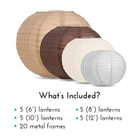 "Ultimate 20-Piece Earthtone Variety Paper Lantern Party Pack - Assorted Sizes of 6"", 8"", 10"", 12"" (5 Round Lanterns Each) for Weddings and Decor"