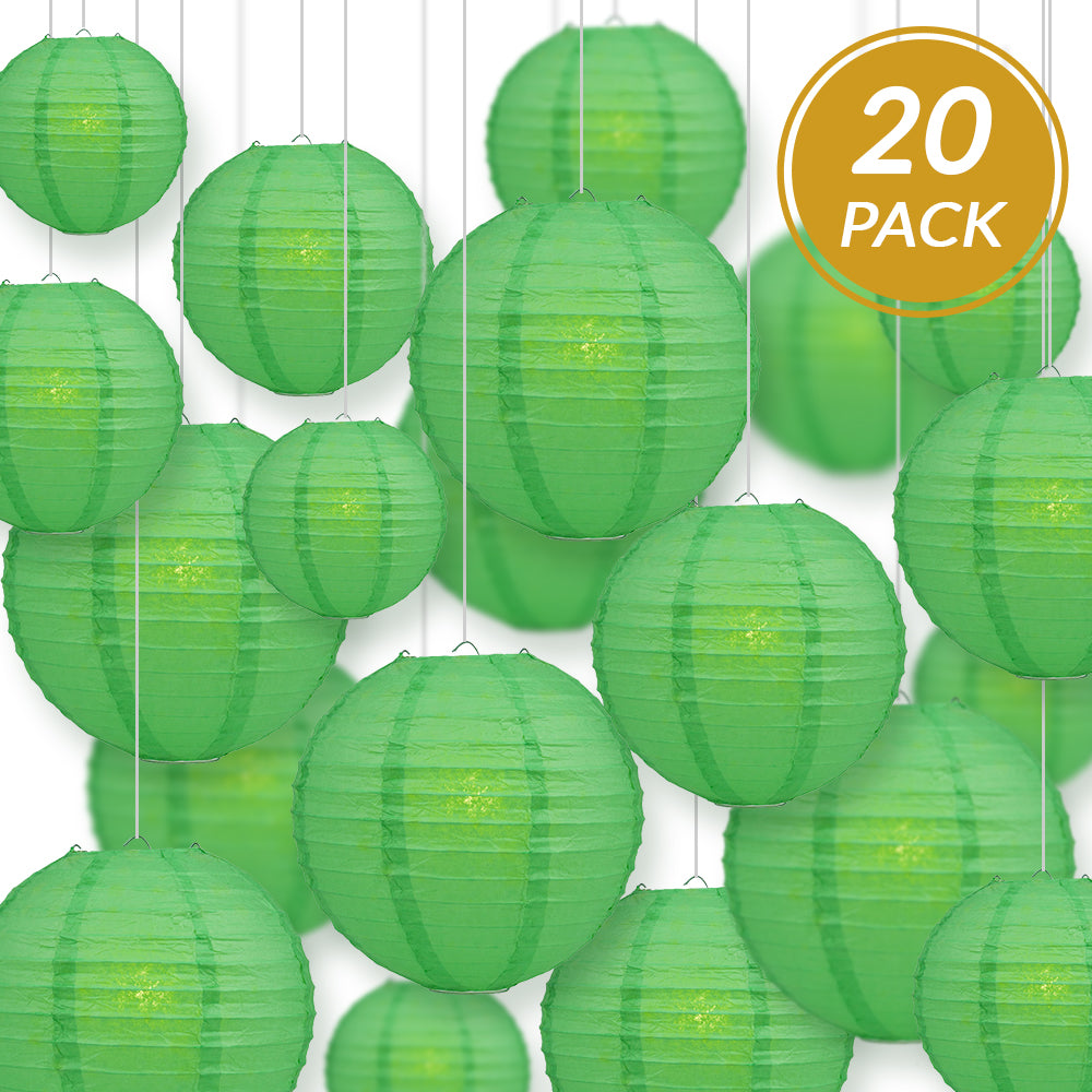 Ultimate 20pc Emerald Green Paper Lantern Party Pack - Assorted Sizes of 6, 8, 10, 12 for Weddings, Birthday, Events and Decor