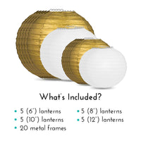 "Ultimate 20-Piece Gold Variety Paper Lantern Party Pack - Assorted Sizes of 6"", 8"", 10"", 12"" (5 Round Lanterns Each) for Weddings, Events and Decor"