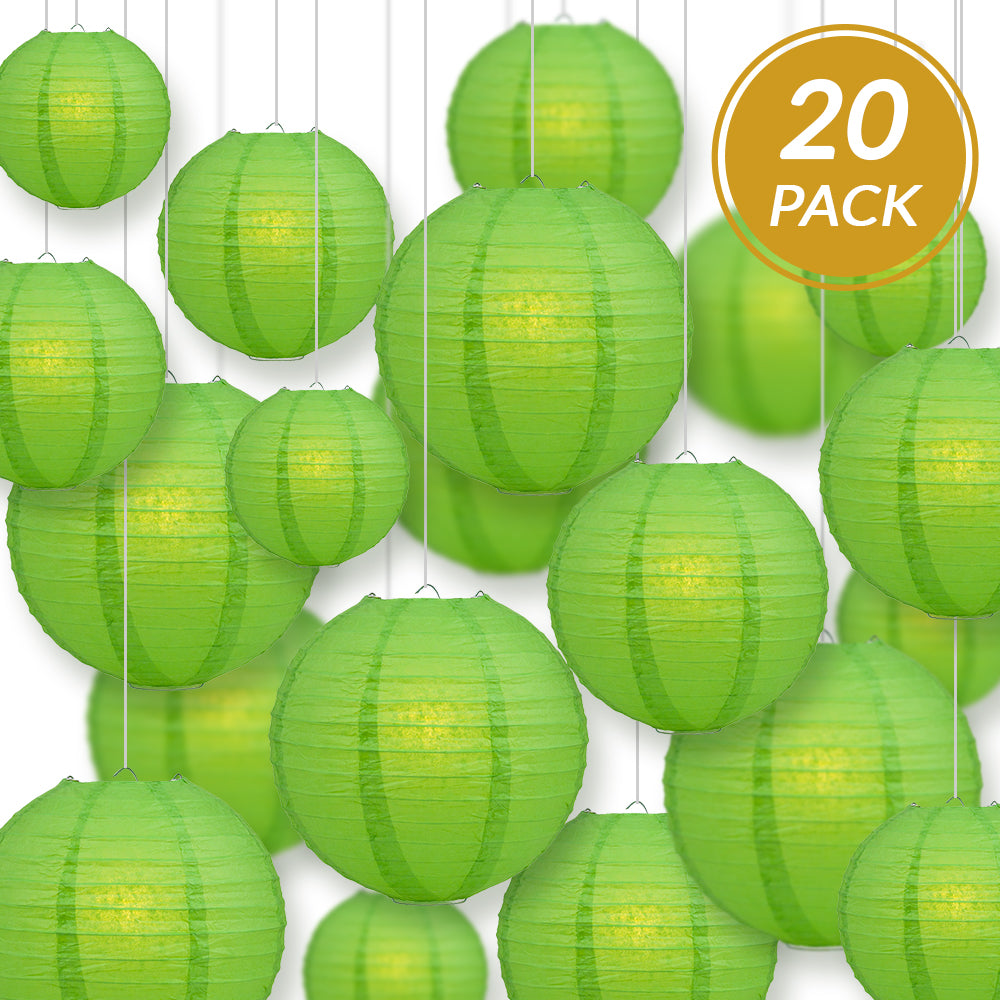 Ultimate 20pc Grass Green Paper Lantern Party Pack - Assorted Sizes of 6, 8, 10, 12 for Weddings, Birthday, Events and Decor