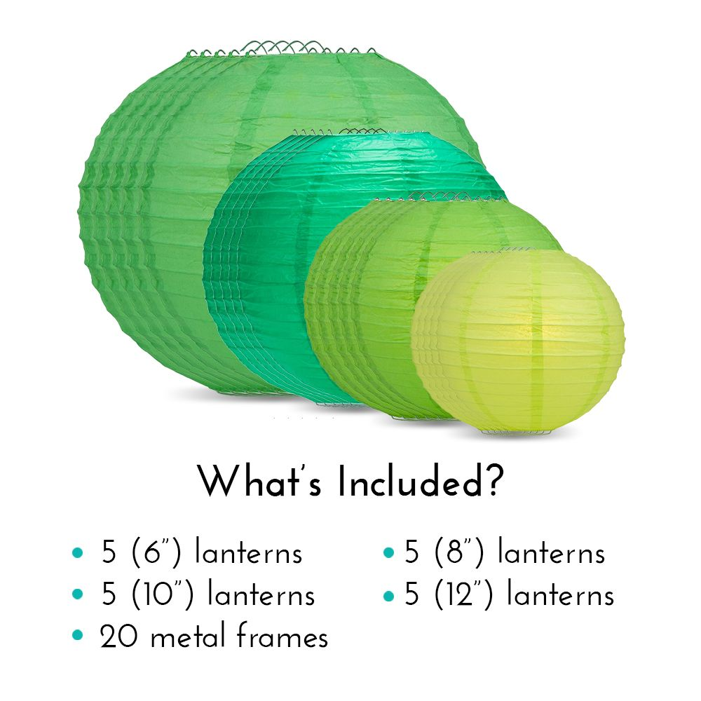 "Ultimate 20-Piece Green Variety Paper Lantern Party Pack - Assorted Sizes of 6"", 8"", 10"", 12"" (5 Round Lanterns Each) for Weddings, Events and Decor"