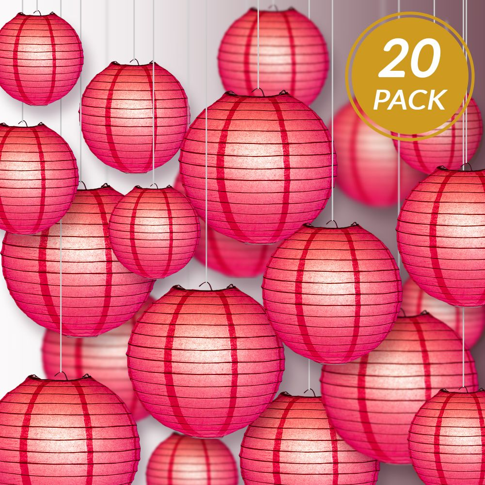 Ultimate 20pc Hot Pink Paper Lantern Party Pack - Assorted Sizes of 6, 8, 10, 12 for Weddings, Birthday, Events and Decor - PaperLanternStore.com - Paper Lanterns, Decor, Party Lights & More