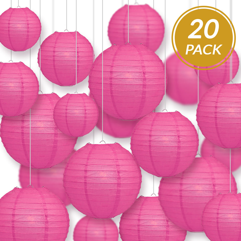 Ultimate 20pc Hot Pink Paper Lantern Party Pack - Assorted Sizes of 6, 8, 10, 12 for Weddings, Birthday, Events and Decor