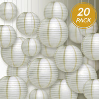 Ultimate 20pc Ivory Paper Lantern Party Pack - Assorted Sizes of 6, 8, 10, 12 for Weddings, Birthday, Events and Decor