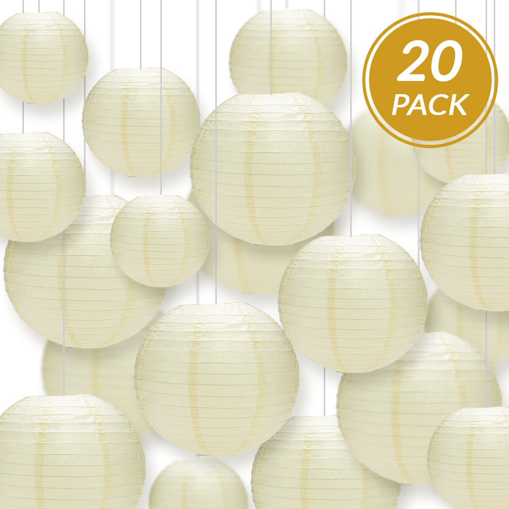 Ultimate 20pc Ivory Paper Lantern Party Pack - Assorted Sizes of 6, 8, 10, 12 for Weddings, Birthday, Events and Decor - PaperLanternStore.com - Paper Lanterns, Decor, Party Lights & More